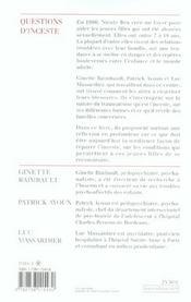Questions d'inceste - 4ème de couverture - Format classique