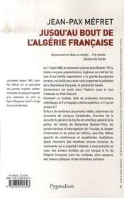 Jusqu'au bout de l'algérie française, bastien-thiry - 4ème de couverture - Format classique