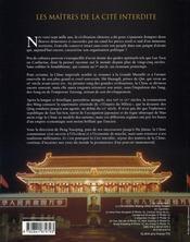 Les maitres de la cite interdite ; une histoire de la chine des hans a nos jours - 4ème de couverture - Format classique