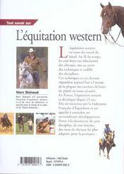 Tout Savoir Sur L'Equitation Western - 4ème de couverture - Format classique