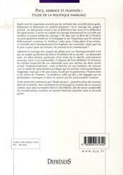 Pacs, mariage et filiation ; étude de la politique familiale - 4ème de couverture - Format classique