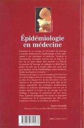 Epidemiologie En Medecine - 4ème de couverture - Format classique