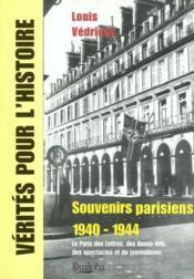 Souvenirs parisiens, 1940-1944 - Couverture - Format classique