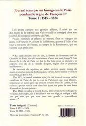 Journal t.1 ; tenu par un bourgeois de Paris pendant le règne de François Ier (1515-1524) - 4ème de couverture - Format classique