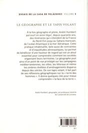 Geographe et le tapis volant - 4ème de couverture - Format classique