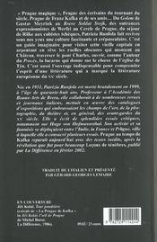 Prague Au Temps De Kafka - 4ème de couverture - Format classique