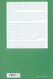 Probabilites Niveau M1 Cours Et Exercices Corriges - 4ème de couverture - Format classique