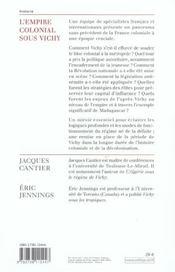 L'empire colonial sous Vichy - 4ème de couverture - Format classique
