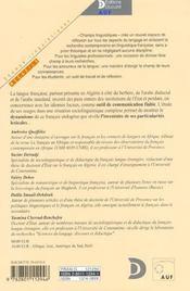 Le Francais En Algerie Lexique Et Dynamique Des Langues - 4ème de couverture - Format classique
