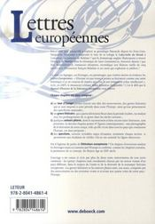 Lettres européennes ; manuel d'histoire de la littérature européenne - 4ème de couverture - Format classique