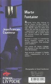 Morte fontaine - 4ème de couverture - Format classique