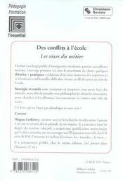 Conflits A L'Ecole. Les Rixes Du Metiers - 4ème de couverture - Format classique