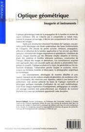 Optique geometrique. imagerie et instruments - 4ème de couverture - Format classique