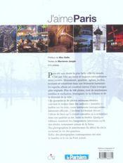 J'Aime Paris Ses Habitants Ses Monuments Ses Quartiers - 4ème de couverture - Format classique