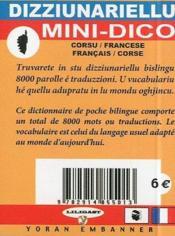 Dizziunariellu ; mini dico francais-corse - 4ème de couverture - Format classique