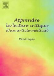 Apprendre la lecture critique d'un article medical - Couverture - Format classique