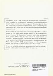Les Rabaut ; du Désert à la Révolution - 4ème de couverture - Format classique