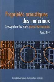 Propriétés acoustiques des matériaux ; propagation des ondes, planes harmoniques - Intérieur - Format classique