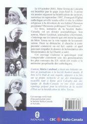 Bienheureuse Mere Teresa De Calcutta ; La Voie Vers La Saintete - 4ème de couverture - Format classique