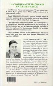 La Communaute Haitienne En Ile-De-France - 4ème de couverture - Format classique