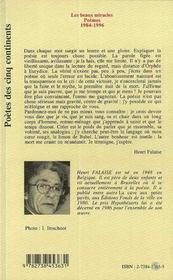Les Beaux Miracles : Poemes, 1984-1996 - 4ème de couverture - Format classique