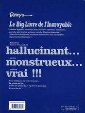 Ripley's Le Big livre de l'Incroyable - 4ème de couverture - Format classique