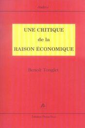 Une critique de la raison economique - Intérieur - Format classique