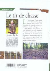 Tout Savoir Sur Le Tir De Chasse - 4ème de couverture - Format classique