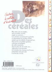 Des céréales - 4ème de couverture - Format classique