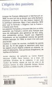L'Algérie des passions ; 1870-1939 - 4ème de couverture - Format classique