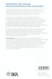 Estimation Des Risques Environnementaux Des Pesticides - 4ème de couverture - Format classique
