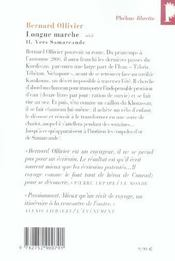 Longue marche t.2 ; vers Samarcande - 4ème de couverture - Format classique