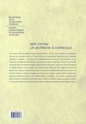Jack cornaz : un architecte à contre-jour - 4ème de couverture - Format classique