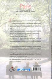 Paris, beautés secrètes des jardins publics et privés - 4ème de couverture - Format classique