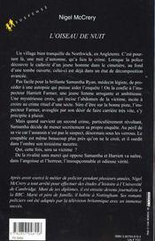 L'Oiseau De Nuit - 4ème de couverture - Format classique