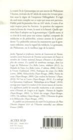 De la gymnastique ; de Philostrate à Mercuriale - 4ème de couverture - Format classique