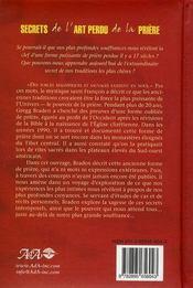 Secrets de l'art perdu de la prière - 4ème de couverture - Format classique
