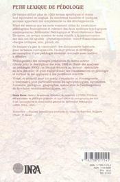 Petit Lexique De Pedologie - 4ème de couverture - Format classique