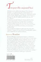 Tocqueville aujourd'hui - 4ème de couverture - Format classique