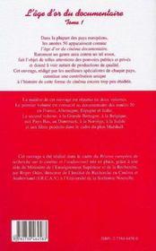 L'Age D'Or Du Documentaire T.1 ; Europe Annees Cinquante - 4ème de couverture - Format classique