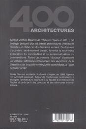 Maisons de createurs 2 - 4ème de couverture - Format classique