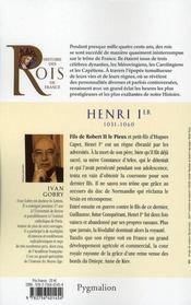 Henri Ier, 1031-1060, fils de Robert II Le Pieux - 4ème de couverture - Format classique