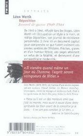 Déposition ; journal de guerre, 1940-1944 - 4ème de couverture - Format classique