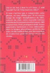 Dictionnaire insolite français-sms - 4ème de couverture - Format classique