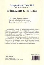 Les marguerites 1547 ; épîtres, dits et histoires - 4ème de couverture - Format classique