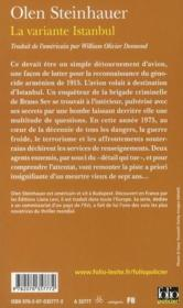 La variante d'Istanbul - 4ème de couverture - Format classique