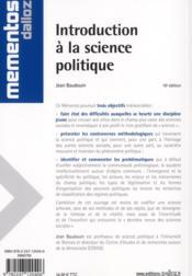 Introduction à la science politique (10e édition) - 4ème de couverture - Format classique