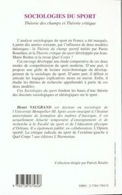 Sociologies Du Sport Theorie Des Champs Et Theor - 4ème de couverture - Format classique