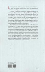 Pensees Sur La Democratie En Europe - 4ème de couverture - Format classique