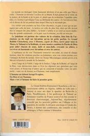 Homme. Espoir De Dieu - Judaisme Kabbale - 4ème de couverture - Format classique
